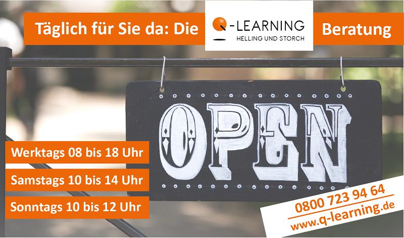 Q-LEARNING neue Öffnungszeiten