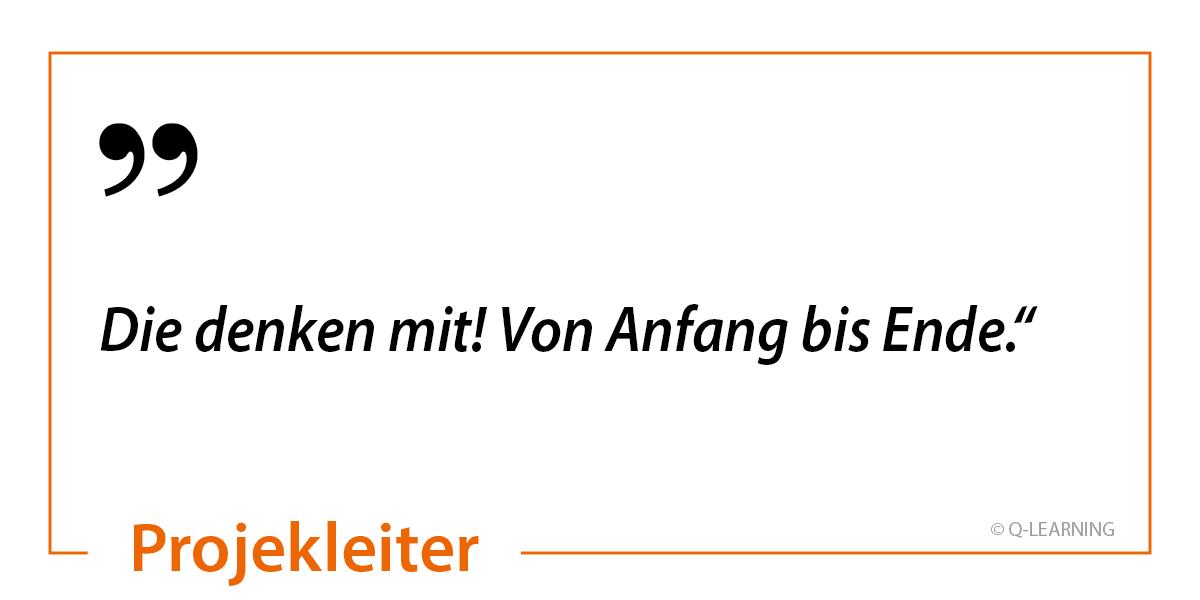 """Bewertung Online-Kurs eines Projektleiters """"Die denken mit! Von Anfang bis Ende."""""""