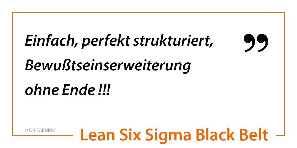 """Teilnehmerstimme LEAN SIX SIGMA BLACK BELT """"Einfach, perfekt strukturiert, Bewußtseinserweiterung ohne Ende !!!"""""""