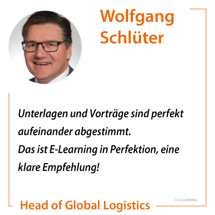 """Teilnehmerstimme Wolfgang Schlüter """"Unterlagen und Vorträge sind perfekt aufeinander abgestimmt. Das ist E-Learning in Perfektion, eine klare Empfehlung!"""""""