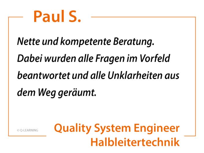 """Teilnehmerstimme Paul S. """"Nette und kompetente Beratung. Dabei wurden alle Fragen im Vorfeld beantwortet und alle Unklarheiten aus dem Weg geräumt."""""""
