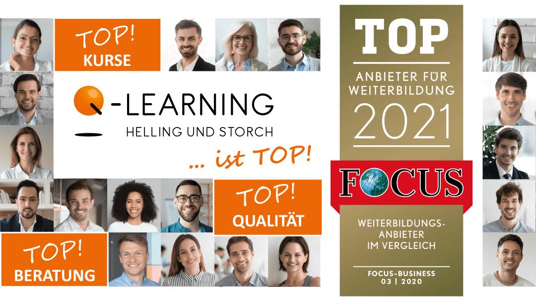 Q-LEARNING ist Focus Business Top Anbieter für Weiterbildung 2021