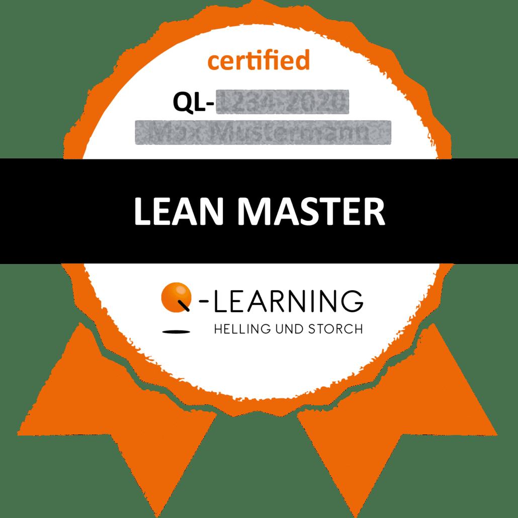 Q-LEARNING Badge Siegel LEAN MASTER Webdemo