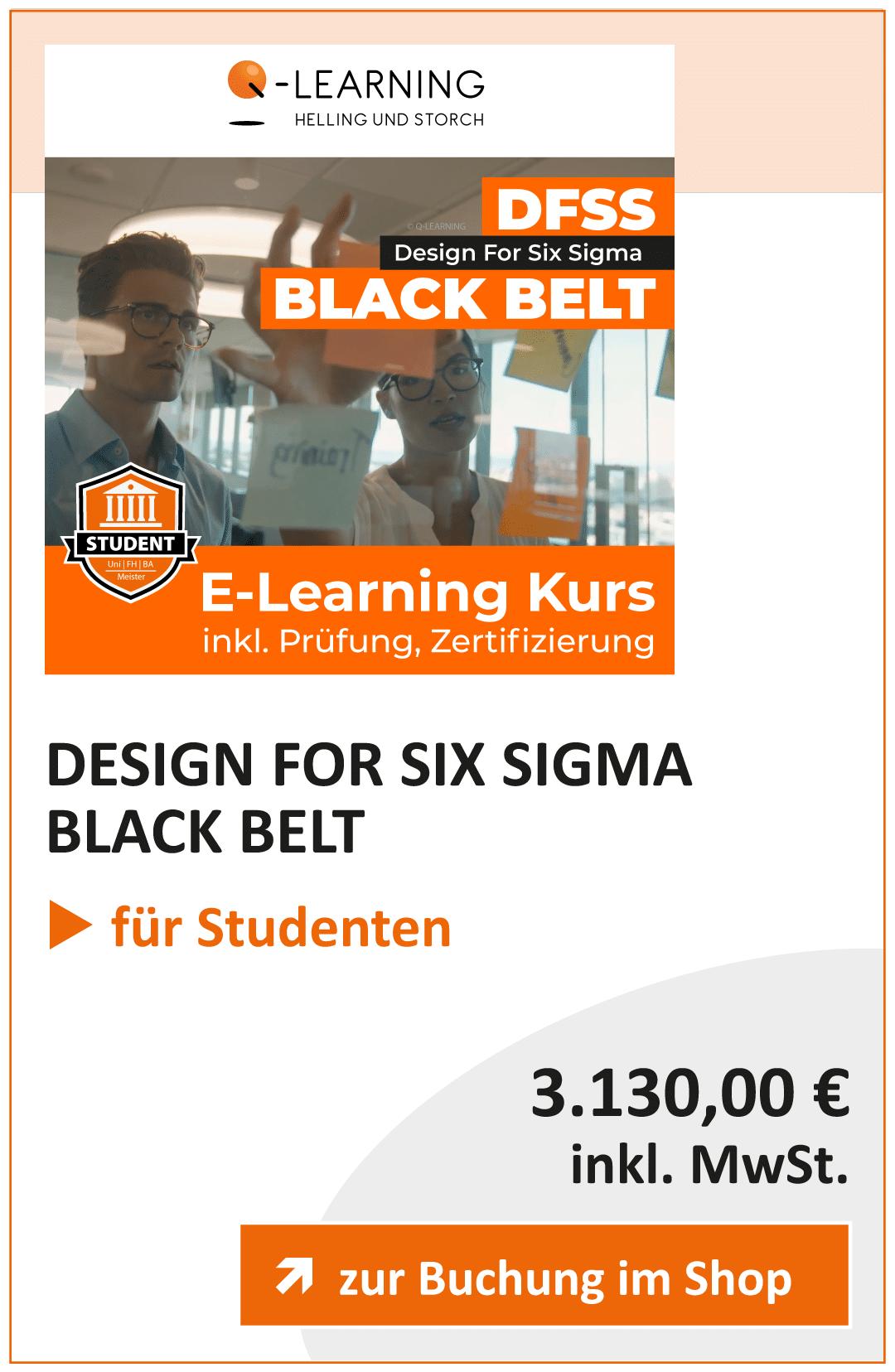 Produktbox DFSS DESIGN FOR SIX SIGMA Black Belt Studenten