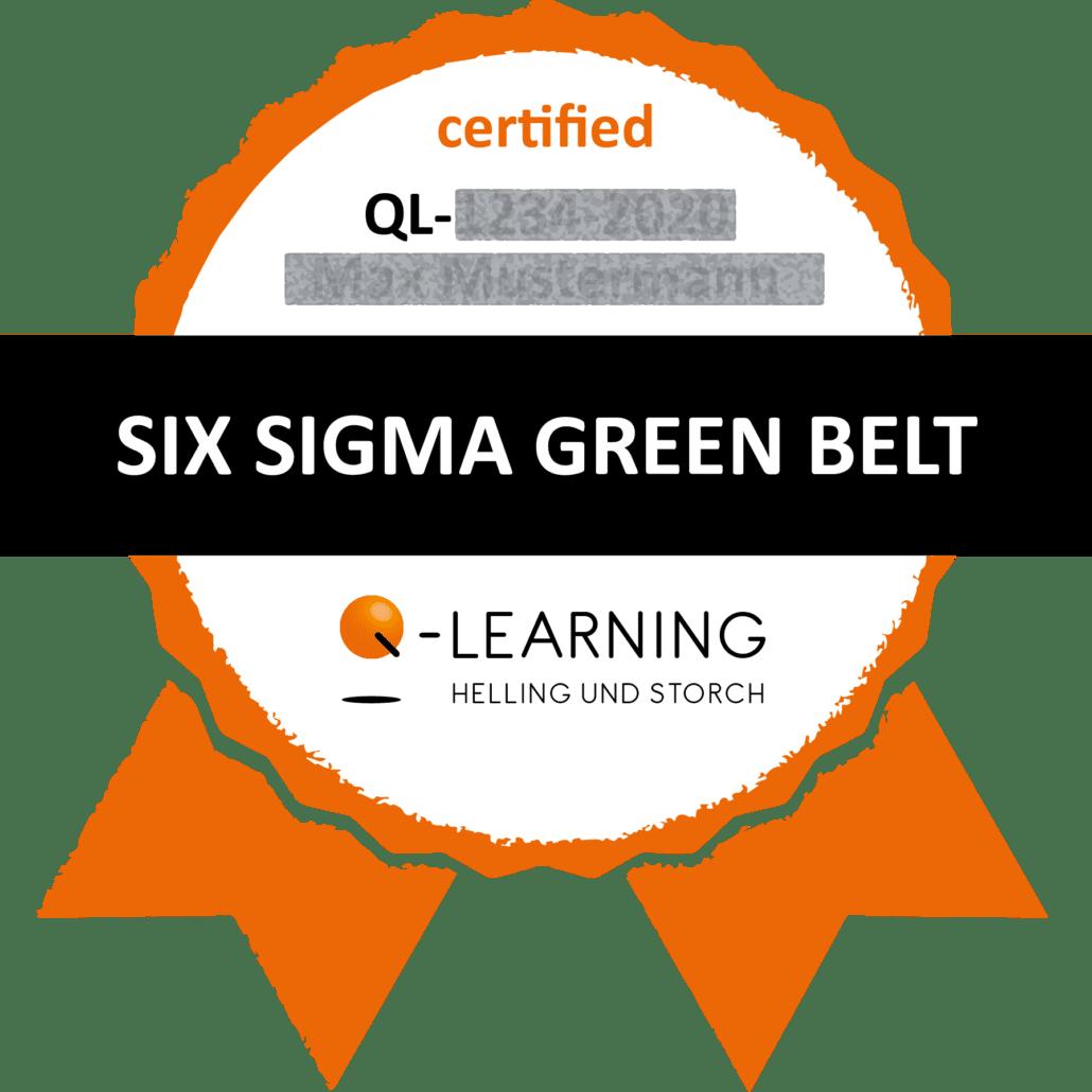 Q-LEARNING Badge Siegel SIX SIGMA Green Belt Webdemo